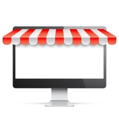 Computer monitor with red awning vector