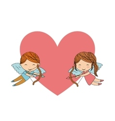 Boy and girl angel icon love design vector