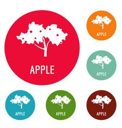 Apple tree icons circle set vector