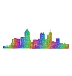 Atlanta skyline silhouette - multicolor line art vector