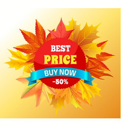 Best price buy now -50 promo label design maple vector