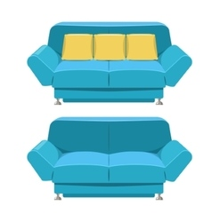 Blue sofa couch design Front view vector image vector image
