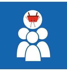 Cartoon basket shopping group person vector
