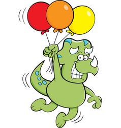Cartoon dinosaur floating while holding balloons vector