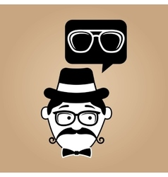 cartoon hipster sunglasses icon vector image vector image