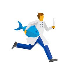 Chef runs with knife and big fish vector