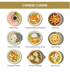chinese cuisine menu traditional dishes vector image