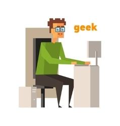Computer geek abstract figure vector
