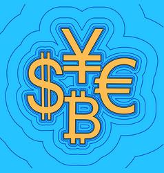 Currency sign collection dollar euro bitcoin vector