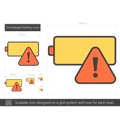 Discharged battery line icon vector