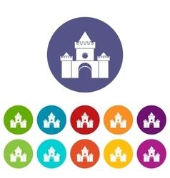 Fairytale castle set icons vector