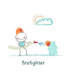 firefighter extinguishes a house vector image