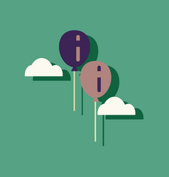 Flat icon design collection two balloons in sky vector