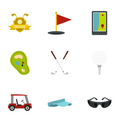 Golf things icons set flat style vector