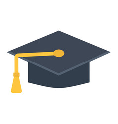 Graduation cap flat icon education and knowledge vector