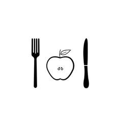 half apple with fork andknife solid icon vector image vector image
