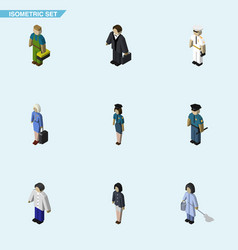 isometric person set of girl policewoman vector image vector image