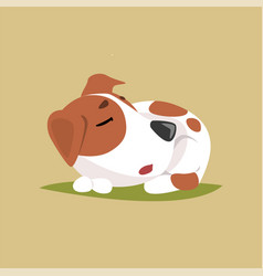 Jack russell puppy character sleeping cute funny vector