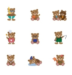 Lovely Bears Flat vector image vector image