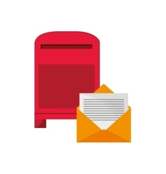 Mailbox and envelope icon vector