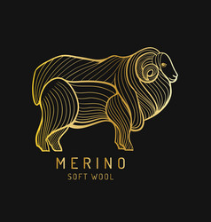 Merino sheep logo label ram vector