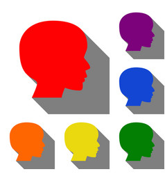 people head sign set of red orange yellow vector image vector image