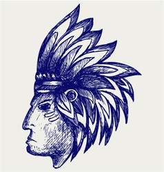 Portrait of american indian vector image