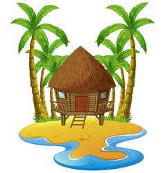 scene with wooden hut on island vector image vector image