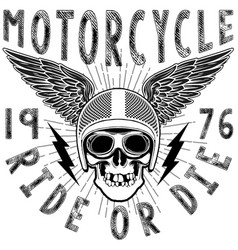 Skull motorcycle helmet t shirt graphic design vector