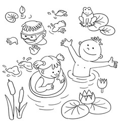 summer vacation cute little girl in a bathing vector image vector image