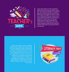 Teachers day and literacy day vector