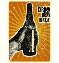 Typographic vintage grunge style beer poster vector