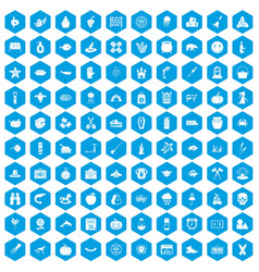 100 autumn holidays icons set blue vector
