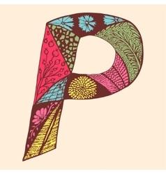 Vintage monogram p doodle colorful alphabet vector