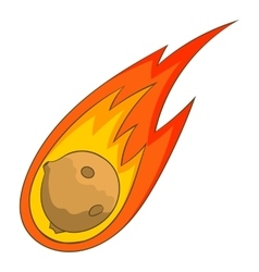 Flame meteorite icon cartoon style vector image
