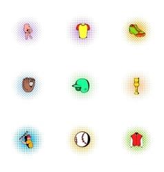 Baseball sport icons set pop-art style vector image