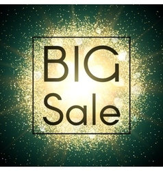 Big sale banner explosion with gold glitter vector
