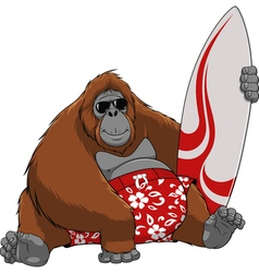 Funny monkey surfer vector