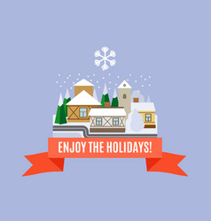 Small town winter landscape card vector