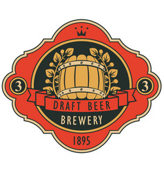 Beer label with barrel laurel wreath and ribbon vector