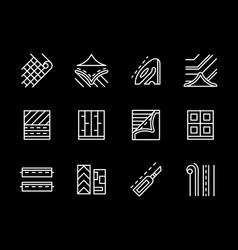 Flooring materials white line icons set vector