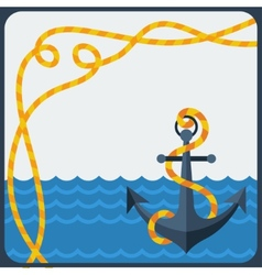 Nautical card with anchor and rope in flat design vector