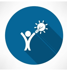 Man with the idea in hand icon vector