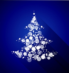 Christmas tree made of light particles flat design vector