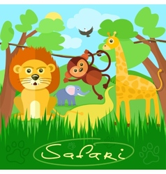 Cute african safari animals vector image