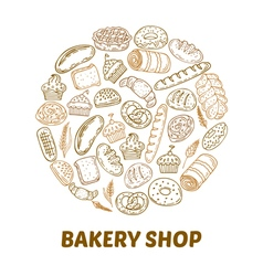Bakery shop hand drawn bakery background vector