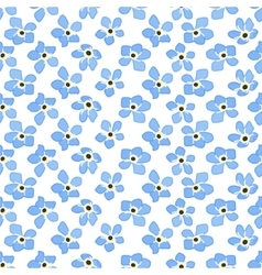 Seamless spring pattern with blue flowers forget vector image