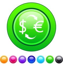 Money exchange circle button vector image