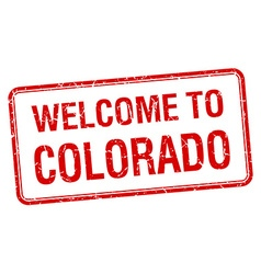 Welcome to colorado red grunge square stamp vector