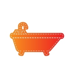Bathtub sign  orange applique vector